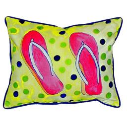"Betsy Drake SN404 Flip Flops Small Indoor/Outdoor Pillow, 11"" x14"""