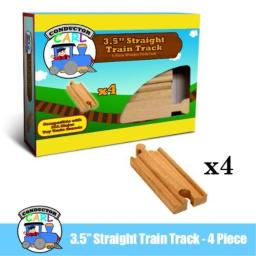 """4-Piece 3.5"""" Straight Wooden Train Track Value Booster Pack - Compatible with All Major Toy Train Brands by Conductor Carl"""