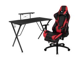 Offex Black Gaming Desk and Red/Black Footrest Reclining Gaming Chair Set with Cup Holder, Headphone Hook, & Monitor/Smartphone Stand