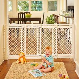 """North States 62"""" Wide Extra-Wide Baby Gate: Smoothly Opens and Closes in Extra-Wide Spaces. Hardware Mount. Fits 22""""-62"""" Wide (31"""" Tall, Ivory)"""