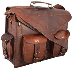CH ABB Vintage Handmade Leather Messenger Bag Laptop Briefcase Satchel Bag 18 Inch 16 inch 15 inch Leather Pure (13 X 18)