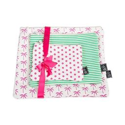 Palm Trees Set of 3 Pink Green 12 x 5 Inch Cotton Patterned Zippered Pouches Set