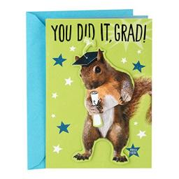 Hallmark Funny Graduation Card With Sound and Motion (Go Nuts Dancing Squirrel)