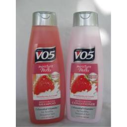 1 Set - Alberto VO5 Moisture Milks Strawberries & Cream Moisturizing Shampoo & Conditioner 15 fl.oz.