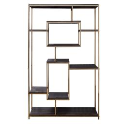 Etagere Bookshelf with 9 Shelves and Geometric Pattern, Gold and Dark Gray