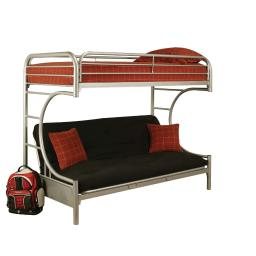 Eclipse Twin Xl Over Queen Futon Metal Bunk Bed with Guardrails, Silver