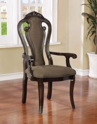 Fabric Upholstered Wooden Arm Chair, Walnut Brown, Set Of 2