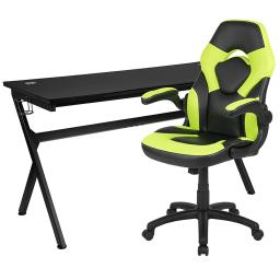Offex Gaming Desk and Green/Black Racing Chair Set /Cup Holder/Headphone Hook/Removable Mouse Pad Top - 2 Wire Management Holes