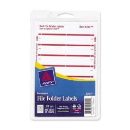 Avery File Folder Labels for Laser and Inkjet Printers, 1/3 Cut, Red, Pack of 252 (5201)