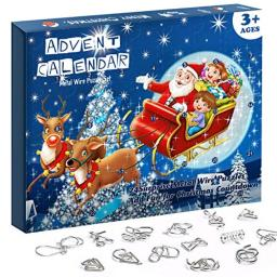 Advent Calendar 2020 Christmas Countdown Calendar Decoration 24pcs Metal Wire Puzzle Toys Gift Box Set Brain Teaser Toy for Xmas Holiday D�cor Party Favor for Kids Adults Challenge