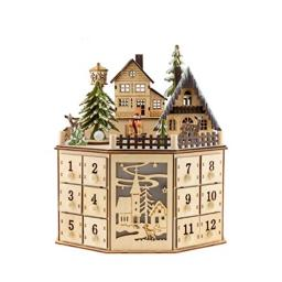Clever Creations Traditional Wooden Advent Calendar   Festive Christmas Village Design with 24 Drawers   LED Christmas Lights and Rotating Christmas Tree   Battery Operated