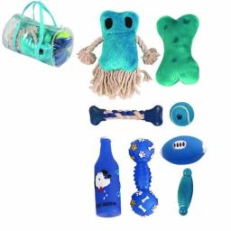 8 Piece Duffle Bag Pet Toy Set, Blue, One Size