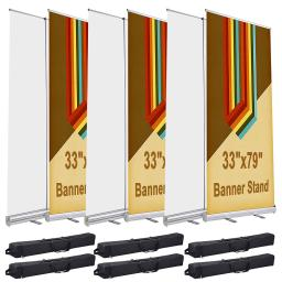 "6 Pcs 33"" x 79"" Aluminum Retractable Roll Up Banner Stand Trade Show Display Promotion Exhibition Sign Holder with Bag"