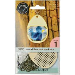 Wood Necklace Punched For Cross Stitch Egg Shape W/ Ball Chain