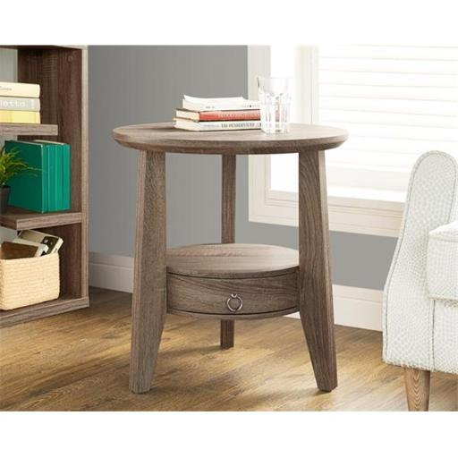 Monarch Specialties I 2493 Dark Taupe Reclaimed-Look 23 Inch Dia. Accent Table - 1 Drawer