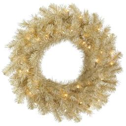 Vickerman A148137LED 36 in. White & Gold Tinsel Wreath with 100 Warm White LED Light