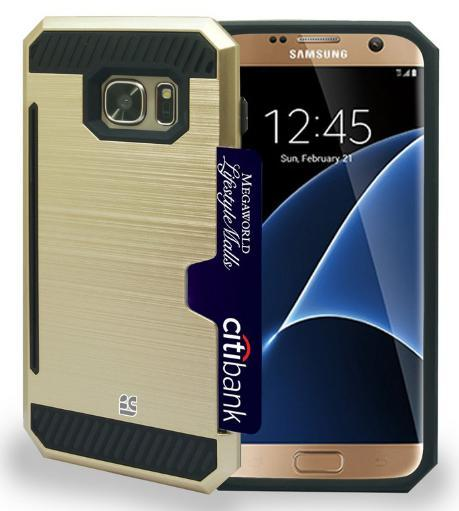 GOLD RUGGED TPU HARD CASE WITH CREDIT CARD SLOT STAND FOR SAMSUNG GALAXY S7 EDGE 2JZFLNF9ZYTNNR87