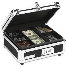 Plastic And Steel Cash Box With Tumbler Lock Black And Chrome   Total Quantity: 1