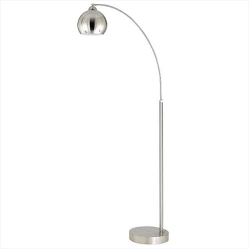 Cal Lighting BO-2030-1L-BS 100 W Arc Floor Lamp With Metal Shade, Brushed Steel Finish