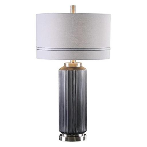 Uttermost 27334-1 Akila Charcoal Glass Table Lamp - Glass, Iron, Linen