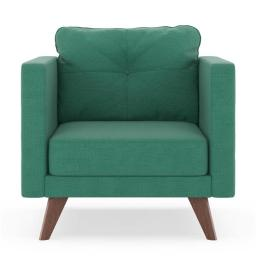 NyeKoncept 50200279 Levi Armchair Oxford Weave - Teal with Walnut Finish