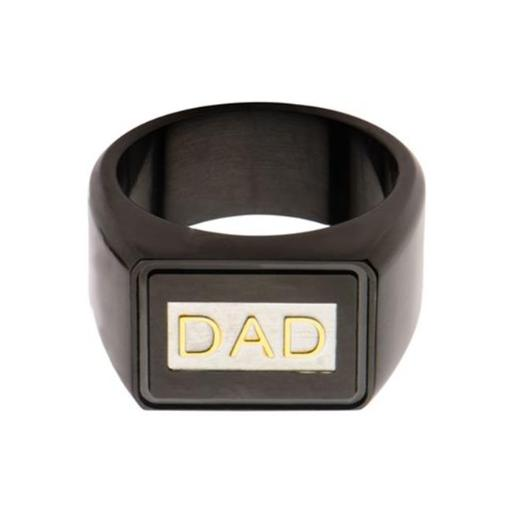 Inox Jewelry FR10868DAD-12 Stainless Steel Ring with DAD Engraved Ring - IP Black & Gold - 12 in.