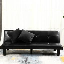 "Belleze 69"" Leather Faux Fold Down w/ (2) Pillow Futon Lounge Convertible Sofa Bed Couch - Black"