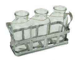 3 Clear Glass Milk Bottles in Rustic Metal Tray