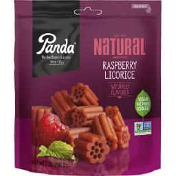 Panda All Natural Licorice Soft Chews - Raspberry - Case of 12 - 7 oz.
