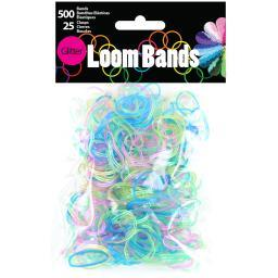 Loom Bands 500/Pkg W/25 Clasps-Glitter