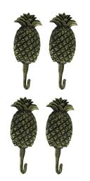 Black Gold Cast Iron Pineapple Wall Hook Set of 4