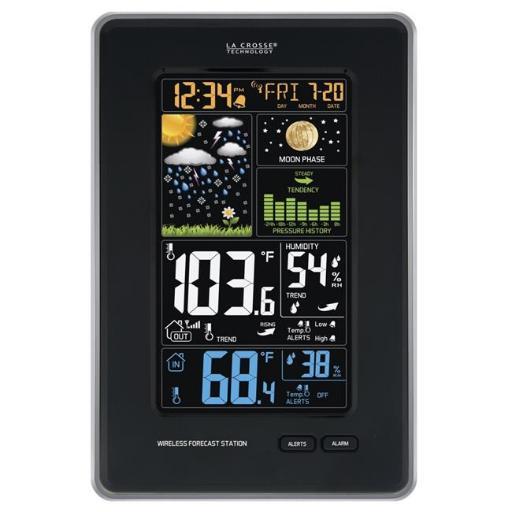 La Crosse Technology 308-1425B Digital Vertical Wireless Weather Station with Pressure, Black