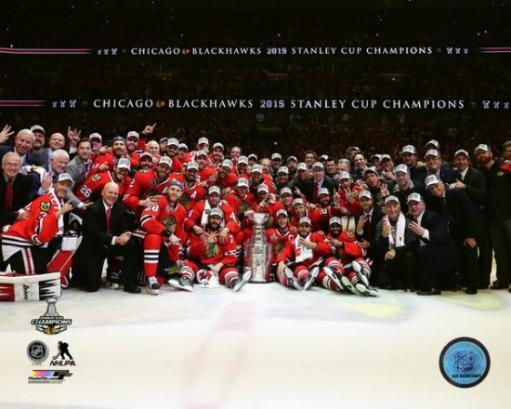 The Chicago Blackhawks celebrate winning Game 6 of the 2015 Stanley Cup Finals Photo Print ZI95LBHCBJJNJ5IC