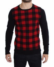 Costume National Red Black Wool Crewneck Men's Sweater