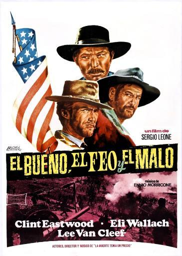 The Good The Bad And The Ugly Clockwise From Top: Lee Van Cleef Eli Wallach Clint Eastwood On Spanish Poster Art 1966. Movie Poster Masterprint