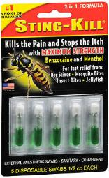 Sting-kill Benzocaine Bee Sting Swabs Disposable - 5 Ct, Pack Of 4