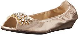 ADRIENNE VITTADINI Footwear Women's Kody Ballet Flat, Gold, 6 M US