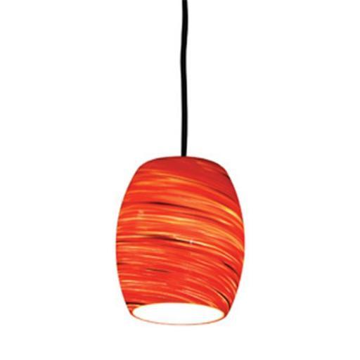 Design House 505768 Red Hot Art Glass Pendant, Satin Nickel Finish