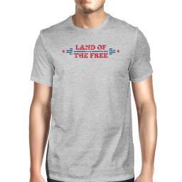 Land Of The Free American Flag Shirt Mens Gray Graphic T-Shirt