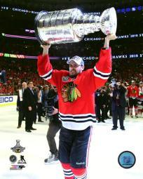 Marcus Kruger with the Stanley Cup Game 6 of the 2015 Stanley Cup Finals Photo Print PFSAASB19001