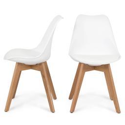 Belleze Set of (2) Retro DSW Mid Century Style Molded Plastic Chair Side Premium Seat Cushion Backrest Wooden Leg, White