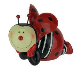 Delightful Laying Ladybug Childrens Hand Painted Coin Bank