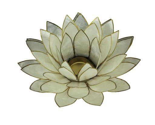 Zeckos White Capiz Shell Lotus Flower Tealight Candle Holder