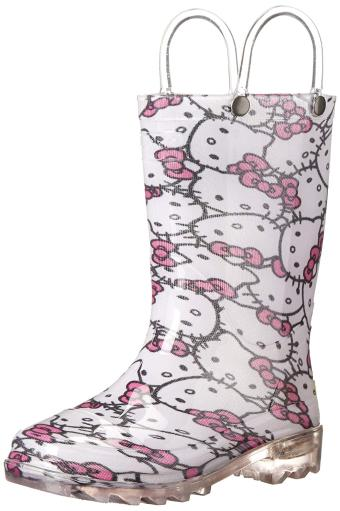 Western Chief Kids' Hello Kitty Waterproof Character Rain Boots with Easy on.