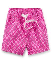 Carter's Baby Girls' Pull-On Printed Poplin Shorts - Pink