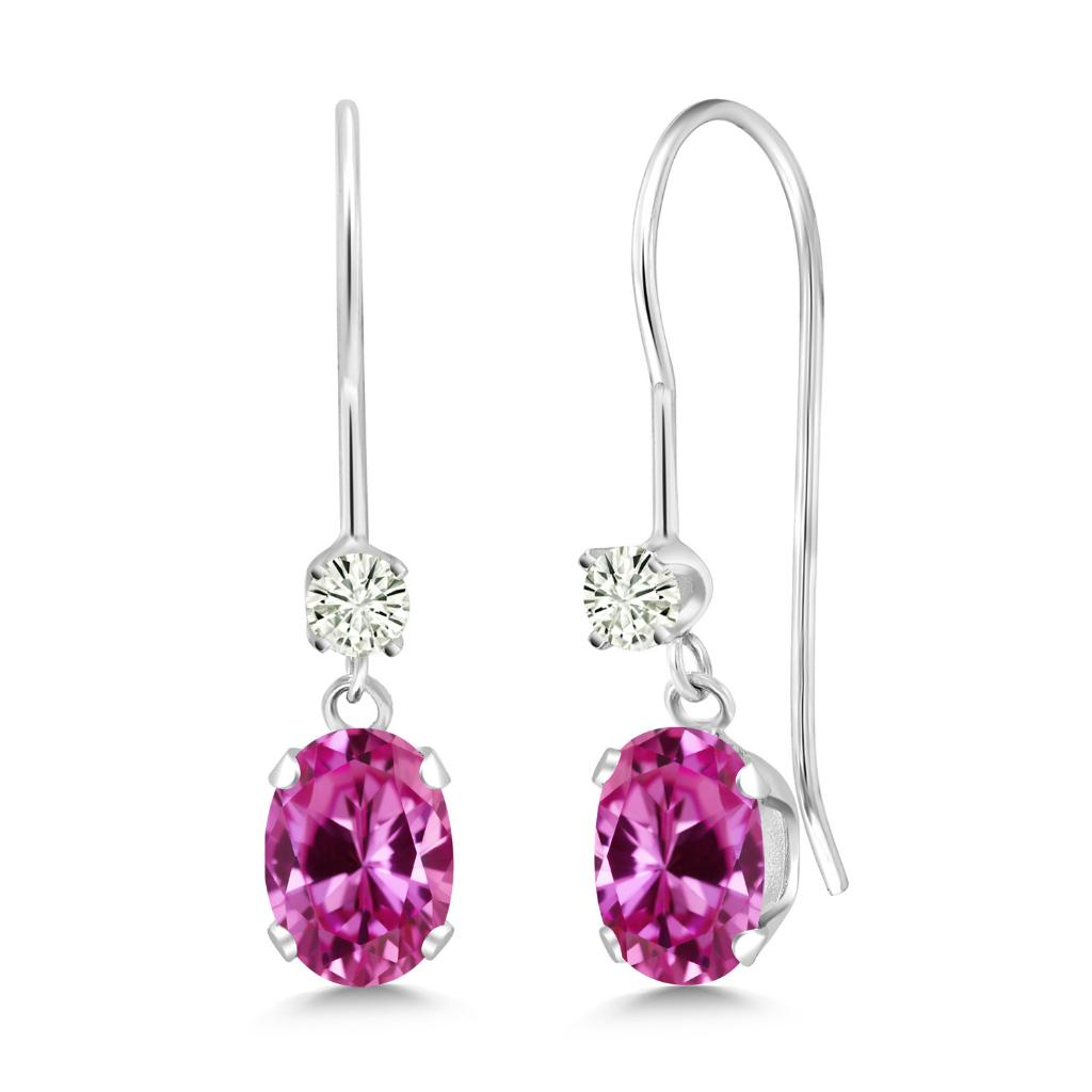 14K White Gold Dangle Earrings Oval Pink Created Sapphire and Forever Classic Created Moissanite 0.12ct (DEW) by Charles & Colvard