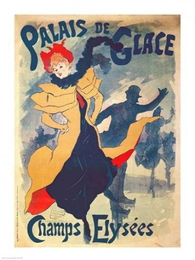Poster advertising the Palais de Glace on the Champs Elysees Poster Print by Jules Cheret
