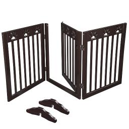 "60""x24"" 3 Panel Folding Pet Gate Wood Dog Fence Baby Safety Gate Playpen Barrier"