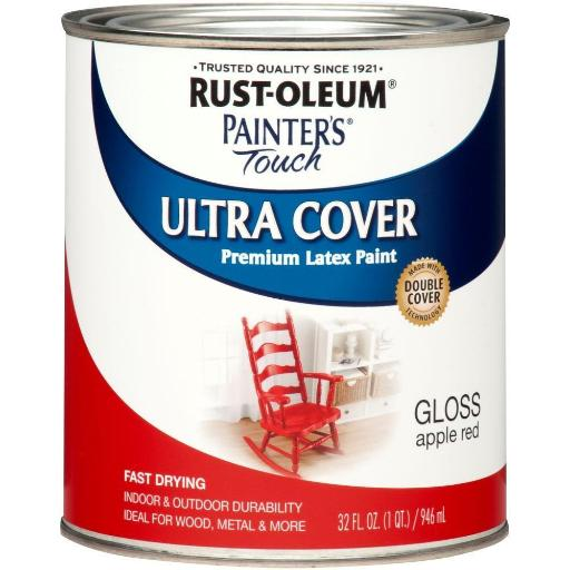 Rust-oleum 1966502 Painter's Touch Acrylic Latex Paint, Apple Red, 1-quart