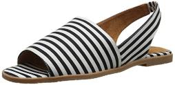 BC Footwear Women's Shot in The Dark Flat Sandal, Black/White, 7 M US